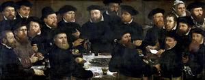 Maaltijd van achttien Amsterdamse schutters van Rot L, bekend als 'De poseters'