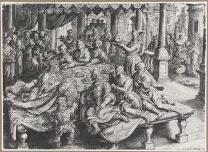 Salome brengt het hoofd van Johannes de Doper binnen, rechts de onthoofding van de Heilige