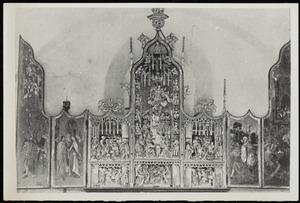 Jozef wordt als echtgenoot gekozen, het huwelijk van Maria en Jozef (binnenzijde linkerluik); De aanbidding der herders, de dood van Maria, de aanbidding der Wijzen, de besnijdenis, de Boom van Jesse, de presentatie in de tempel (midden); De vlucht naar Egypte, de kindermoord te Bethlehem (binnenzijde rechterluik); De annunciatie (predella)
