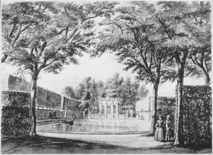 Gezicht op de tuin van het huis Ockenburg, bij Den Haag