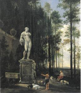 Herders en hun dieren aan de voet van een standbeeld