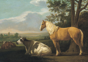 Landschap met een paard en enkele koeien in een wei