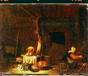 Boereninterieur met stilleven van vaatwerk en etenswaren en een keukenmeid bij de haard
