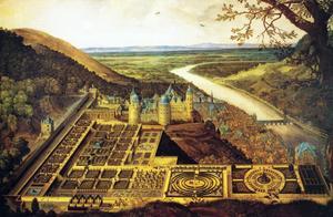 Gezicht op het Slot van Heidelberg met de Hortus Palatinus vanuit het oosten