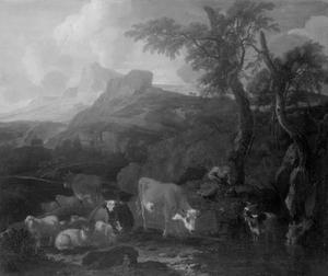Rustende herder met kudde in een zuidelijk landschap