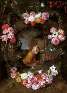 Cartouche met de Heilige Margaretha van Cortona in gebed, versierd met bloemen