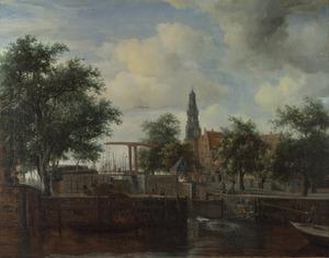 Gezicht op Amsterdam met de Haarlemmersluis en de Haringpakkerstoren