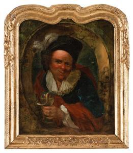 Een man in historisch kostuum met een glas wijn in de hand: allegorie op de Smaak (?)