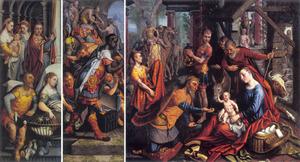 De aanbidding van de wijzen (binnenzijde links, midden); de presentatie in de tempel (buitenzijde links)