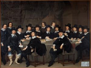 Groepsportret van de Haagse magistraten met twee bodes, 1647