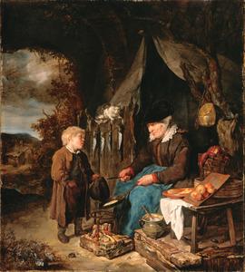 Pannenkoeken bakkende oude vrouw en kleine jongen