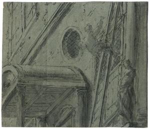 Fragment van een voorstelling met een paleis en een man die van een ladder valt