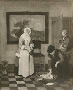 Visverkoopster en garnalenverkoper bij een huisvrouw in een interior