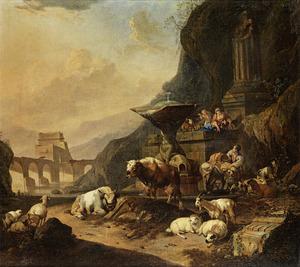 Zuidelijk landschap met herders en hun vee rond een bron