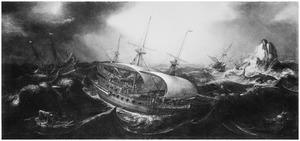 Schepen op stormachtige zee, met een walvis en een zeemonster
