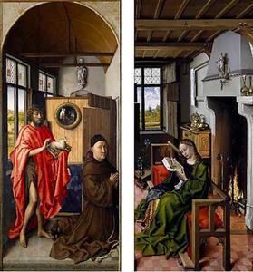 De H. Johannes de Doper met Heinrich von Werl (gest. 1463) (binnenzijde, links); De H. Barbara lezend (binnenzijde, rechts)