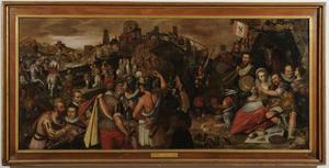De overgave van Weinsberg met portretten van Jan Cornelisz. van 't Woudt (1560-1615), Dirck Volckertsz. Coornhert (1522-1590) en waarschijnlijk Jacob Duym (1547-1624)
