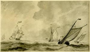 Twee schepen en een jacht op zee bij Margate