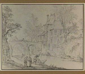 Rivier of gracht met huis en stenen brug