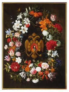 Bloemenkrans met portret van keizer Leopold I van het Heilige Roomse Rijk (1640-1705)