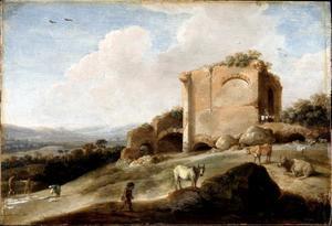 Zuidelijk landschap met Romeinse ruïne en bleekveld