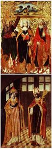 De HH. Andreas, Catharina en Petrus (voorzijde); Twee heilige maarschalken: de H. Cornelius en de H. Hubertus als bisschop (achterzijde)