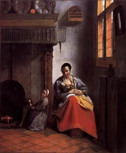 Vrouw die een kind zoogt en een meisje met hond in een interieur
