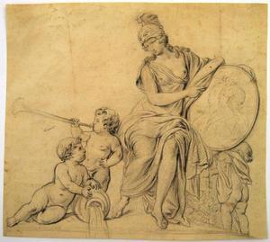 Minerva met een dubbelportret van Maria Theresia (1717-1780) en Frans I Stefan (1708-1765)