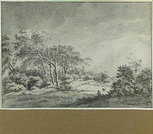 Landschap met bomen en boeren op een akker
