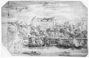 Het paleis van Ulrik Frederik Gyldenløve (thans Charlottenborg) te Kopenhagen, gezien vanaf de paardenstallen
