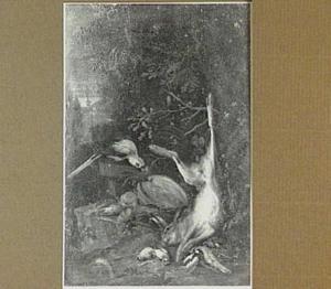 Papegaai bij jachtbuit van haas en gevogelte