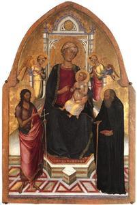 Tronende Maria met kind met twee engelen en HH. Johannes de Doper en Antonius Abt