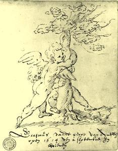 Twee amorini omarmen een boom
