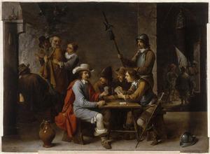 De verloochening van Petrus in een wachthuis met kaartspelers