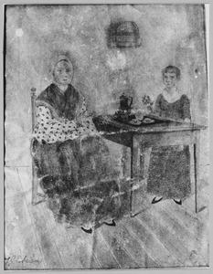 Portret van Gerritje van den Berg (1778-1860) en haar dochter Woutertje van den Berg (1822-....)