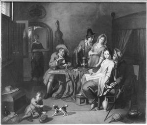 Interieur met kaartspelend gezelschap, op de voorgrond speelt een jongetje met een hondje