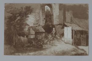 Ruïne van kasteel Brederode vanuit het westen (?)