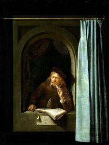 Schilder met pijp en boek in een venster
