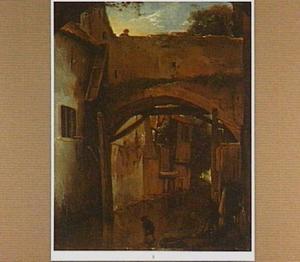 Gezicht in een zuidelijke stad met een wasvrouw en kinderen onder een brug