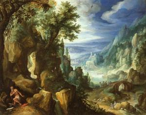 Berglandschap met deboetvaardige H. Hiëronymus