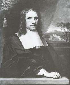 Portret van een man; op de achtergrond een berglandschap met een kasteel