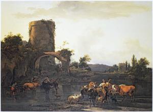 Italiaans landschap met herders en hun kudde bij een rivier