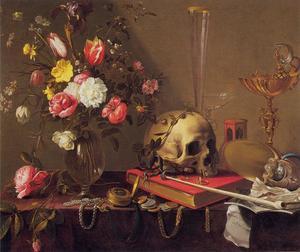 Vanitas stilleven met boeket bloemen en een schedel