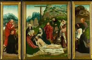 Drieluik met de stichter en de H. Petrus (links), de bewening (midden), de stichtster en de H. Paulus (rechts)