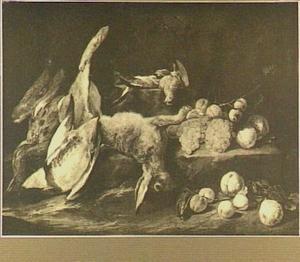 Stilleven met haas, gevogelte en vruchten