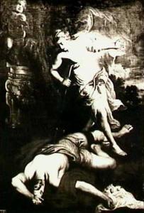 Thisbe pleegt zelfmoord als ze het vermeende lijk van Pyramus vindt