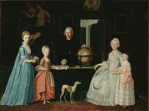 Portret van Gerrit Willem van Oosten de Bruyn (1727-1797), Maria Croon (1729-1799), Geertruida, Elizabeth van Oosten de Bruyn (1759-1810), Maria Cornelia van Oosten de Bruyn (1766-1845) en Johanna Jacoba van Oosten de Bruyn (1768-1793)