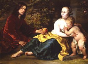 Portrait historié van Wigbold Slicher, Elisabeth Spiegel en hun zoon als Paris, Venus en Amor