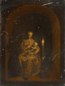 Trompe l'oeil schildering van een beeld van de Madonna met het kind