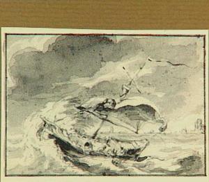 Zeilschip op zee bij storm, op de achtergrond een kust